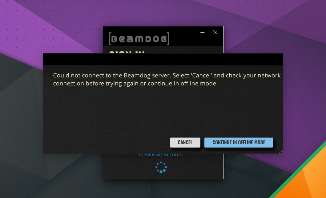 Beamdog Client without internet connection